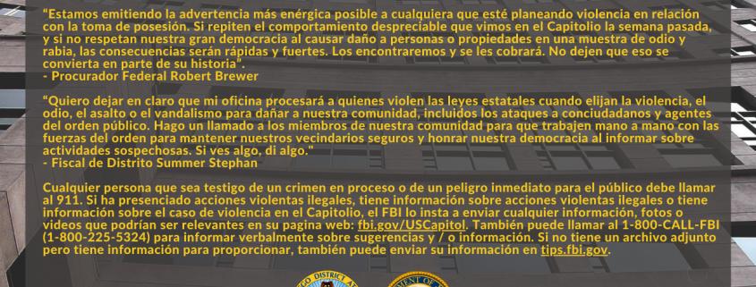 Foto de la Declaración: Fiscal de Distrito y Procurador Federal Advierten Sobre Protestas Violentas