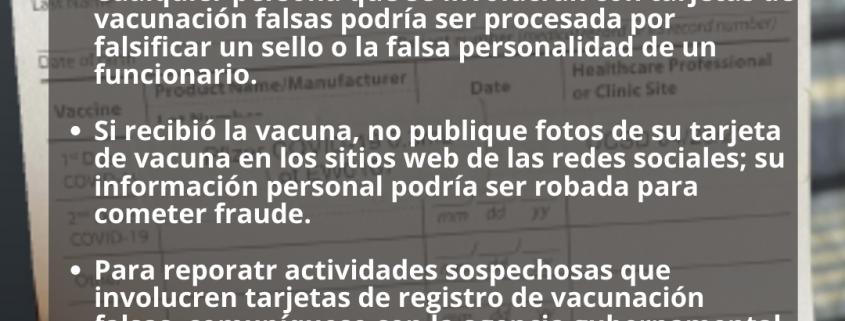Foto de ADVERTENCIA: Cuidado Con Tarjetas de Vacunación Falsas