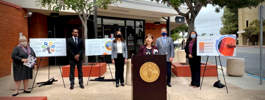 Photo of DA Summer Stephan at news conference to announce Juvenile Diversion Initiative.