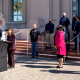Photo of District Attorney Summer Stephan at a press conference in front of the County building.